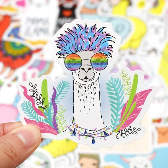 50PCS Llama Alpaca Cute Nice Stickers Kawaii Cartoon Camel Sheep Animal Laptop