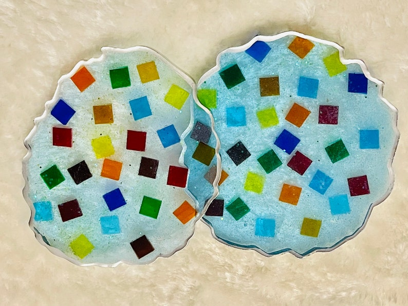 Blue Resin Coasters with Tile Charms Custom Made Resin Coasters