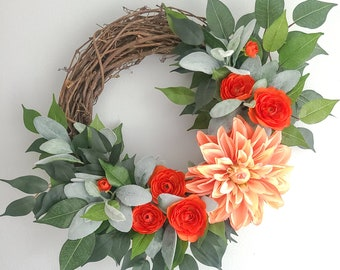 Coral Dahlia Wreath Eucalyptis Year Round Wreath Housewarming Wreath Coral Floral Wreath Coral Ranunculus Wreath Everyday Wreath