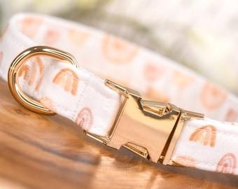 "Boho Rainbow Dog Collar - ""Raining Gold"", Designer Pet Collar, Cute Boho Girl Puppy Collar, Bohemian Chic Female Dog Collar - Adjustable"