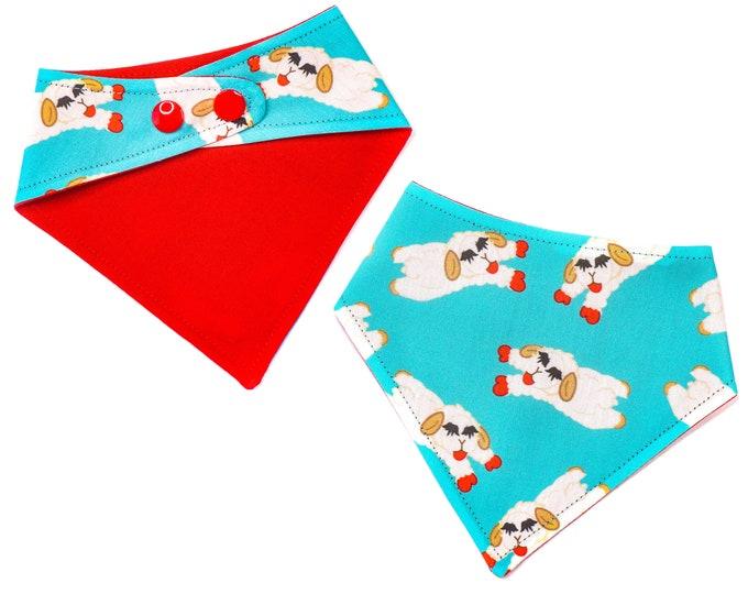 Funny Dog Bandana Lamb Chops Snap On Dog Bandana Cat Bandana Personalized Dog Bandana Dog Bandana with Snaps Custom Dog Bandana Blue
