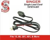 Singer Power Cord 197874-001 (122) Fits 301, 15 Class 401, 403 More See Description