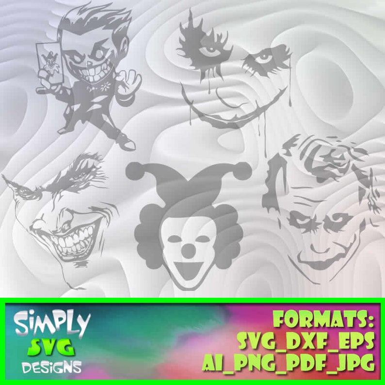 Crazy Clown Bundle 1 includes Svg etc. Cameo Png for Cricut Ai Silhouette Eps DXF; 300dpi Printable