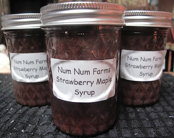 Organic Small Batch Strawberry Maple Syrup  by Num Num Farms 8 oz