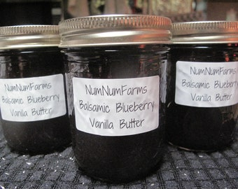 Balsamic Blueberry Vanilla Butter Small Batch Jam by Num Num Farms 8 oz and 4 oz