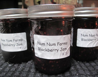 8 oz Blackberry Jam Small Batch made with Organic sugar only 2 ingredients! by Num Num Farms
