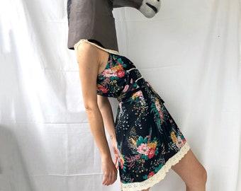 70s Floral Black Summer Dress. Vintage Floral Crochet Mini Dress with Floral Print by Jonathan Logan