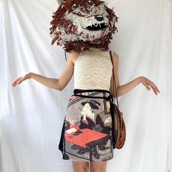 Vintage 1990s Wrap Mini Skirt with Japanese Print… - image 3