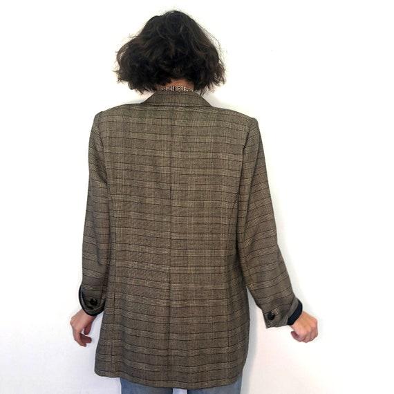 Vintage pure new wool plaid jacket. 90s brown pla… - image 5