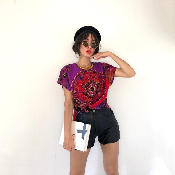 Scarf print top. Psychedelic print t-shirt