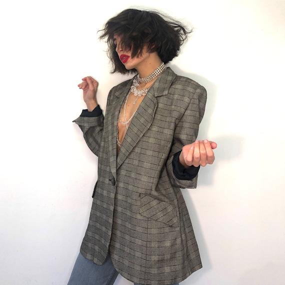 Vintage pure new wool plaid jacket. 90s brown pla… - image 4