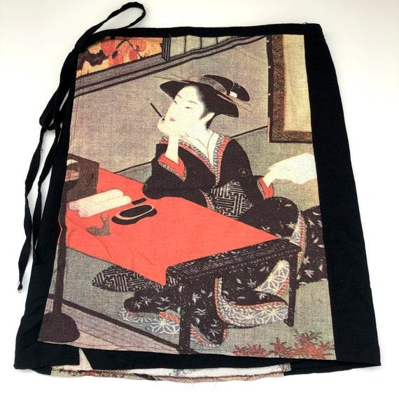 Vintage 1990s Wrap Mini Skirt with Japanese Print… - image 7