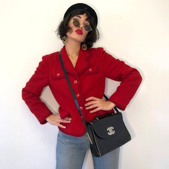 90s Chanel style wool boucle jacket. Vintage red t