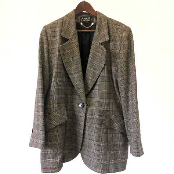 Vintage pure new wool plaid jacket. 90s brown pla… - image 7
