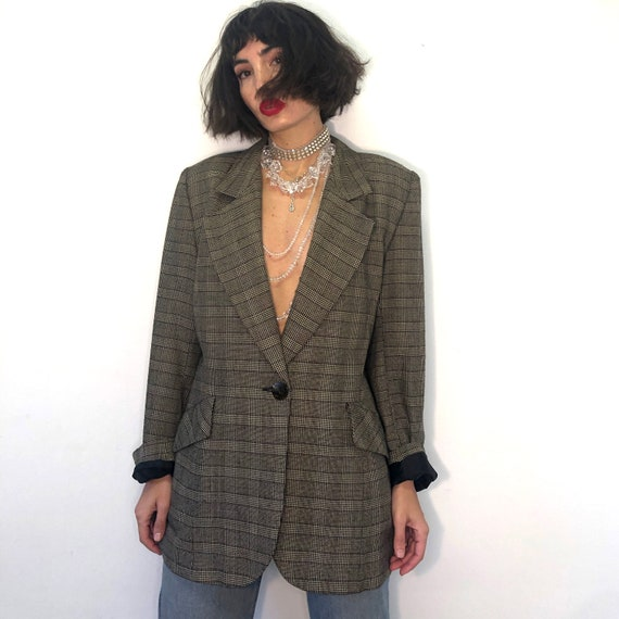 Vintage pure new wool plaid jacket. 90s brown plai