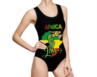 Women's  One Piece Reggae Swimsuit Jamaican Culture, Swimsuit, West Indian,Fun, Yardie, Jamaica, Caribbean vibes, Jamaican vacation (AFRICA)