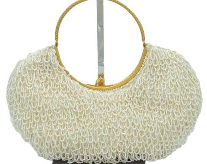 Vintage La Regale White Beaded Gold Handle Purse