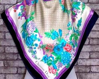 Vintage Christian Dior Silk Scarf 33x34