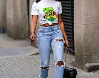 Reggae T-shirt Bruk Out, Jamaican Culture, Swimsuit, West Indian, Fun, Yardie, Jamaica, Caribbean vibes, Jamaican vacation