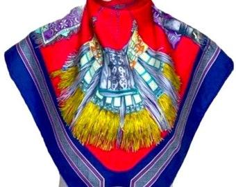 Hermès Cuirs Du Desert Silk Scarf 34x35