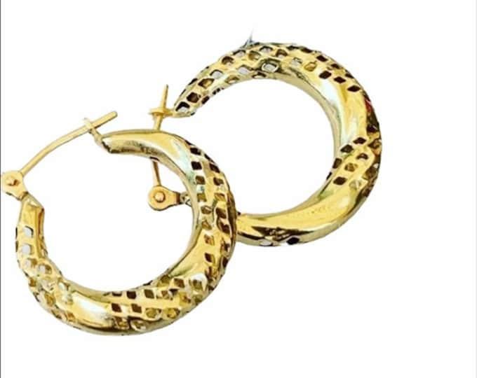 10K Gold textured hoops