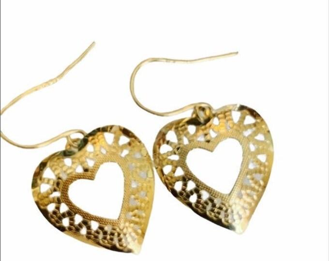 14K gold open heart dangle earrings