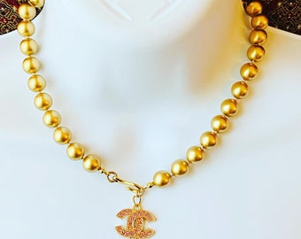 Authentic Button Faux Gold Pearle Choker, Wedding Necklace
