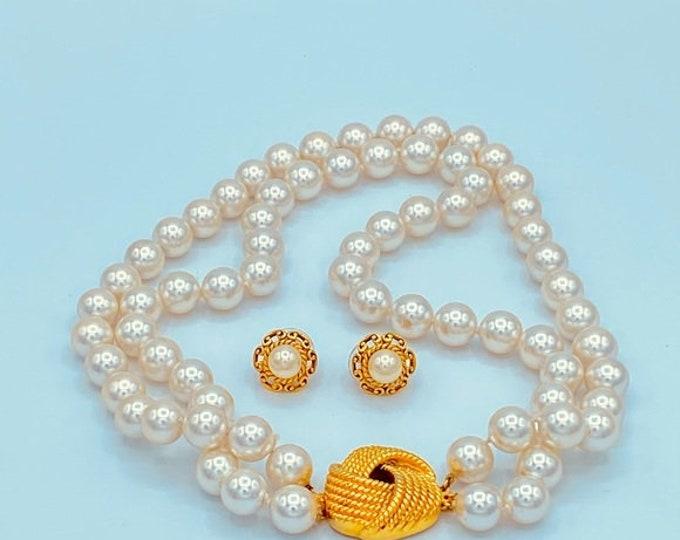 Vintage Faux Pearl Choker Necklace Set Bridal
