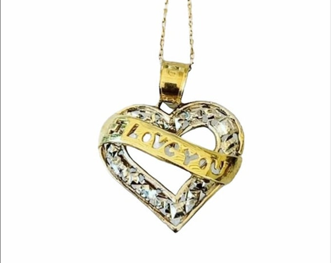 10k Gold Love You Heart Necklace