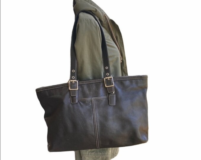 Coach Large Leather Tote, Black