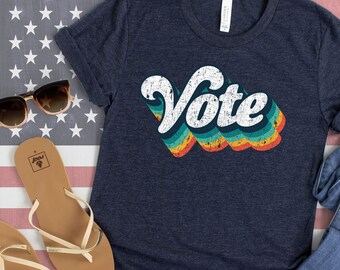 VOTE Retro Vintage Style 70s Shirt, Retro Vote Shirt, American Voter Shirt - Patriots VOTE for Biden, they don't VOTE for Trump