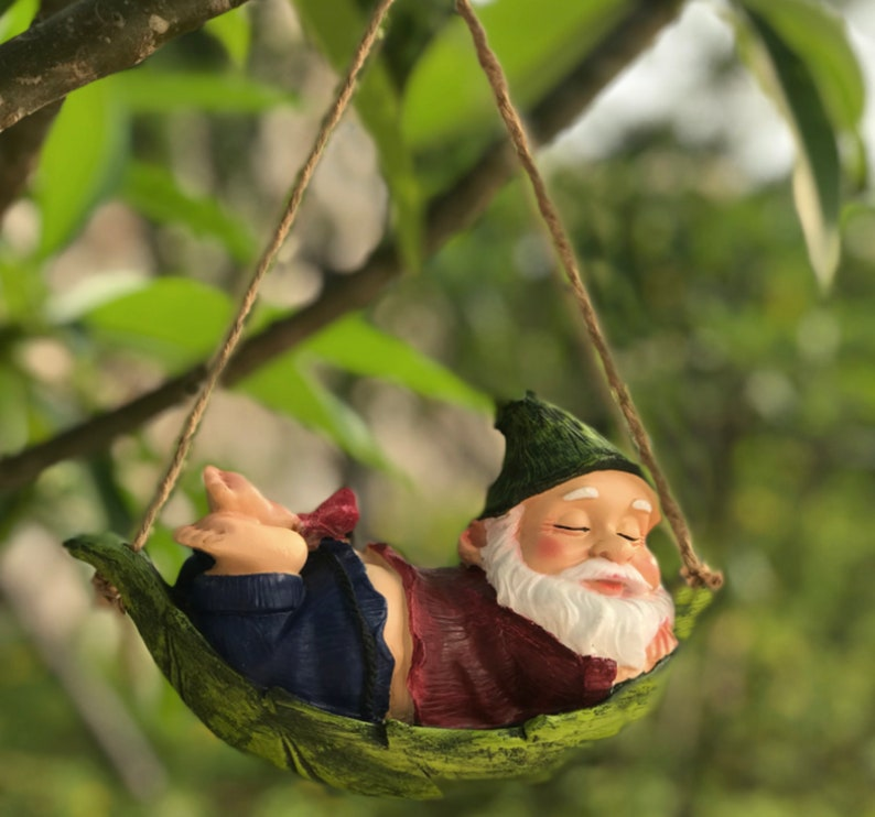 Swing Resin Outdoor Garden Statue  Santa Claus Resin Lying Red Santa 19*8*11cm