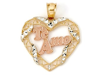 Double Outline Heart with Flowers Real 14K TriColor Gold Pendant