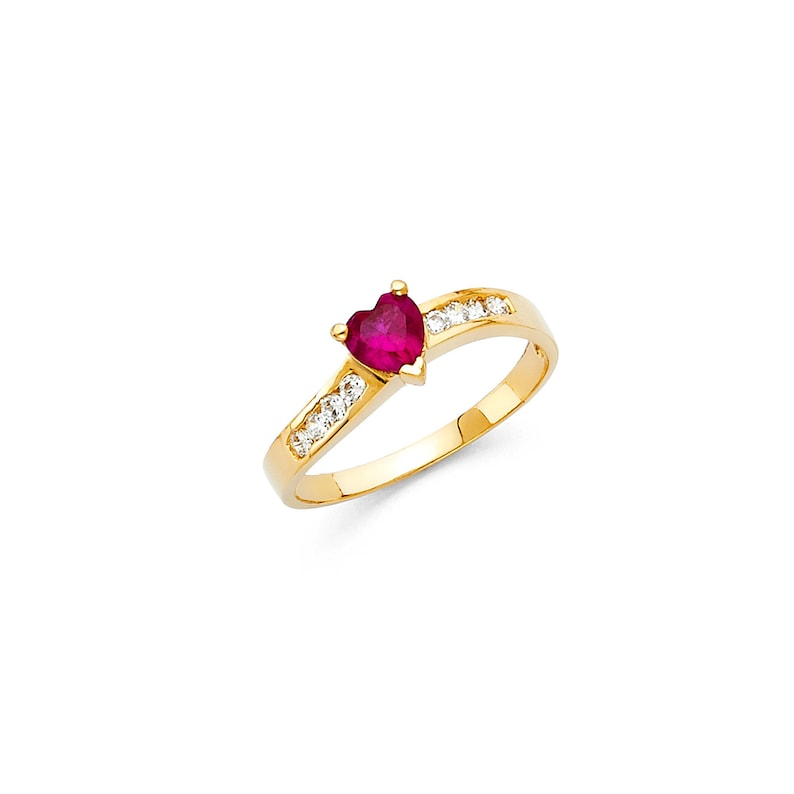 Classic Curved Channel Real 14K Yellow Gold with Ruby Heart Shaped CZ Ring