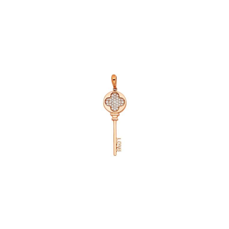 Flower Symbol Vintage Key CZ Real 14K Rose Gold Pendant
