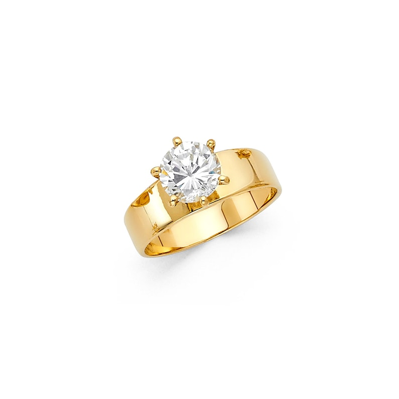 Thick Polished 6-Prong Round-Cut Solitaire Real 14K Yellow Gold Engagement Ring