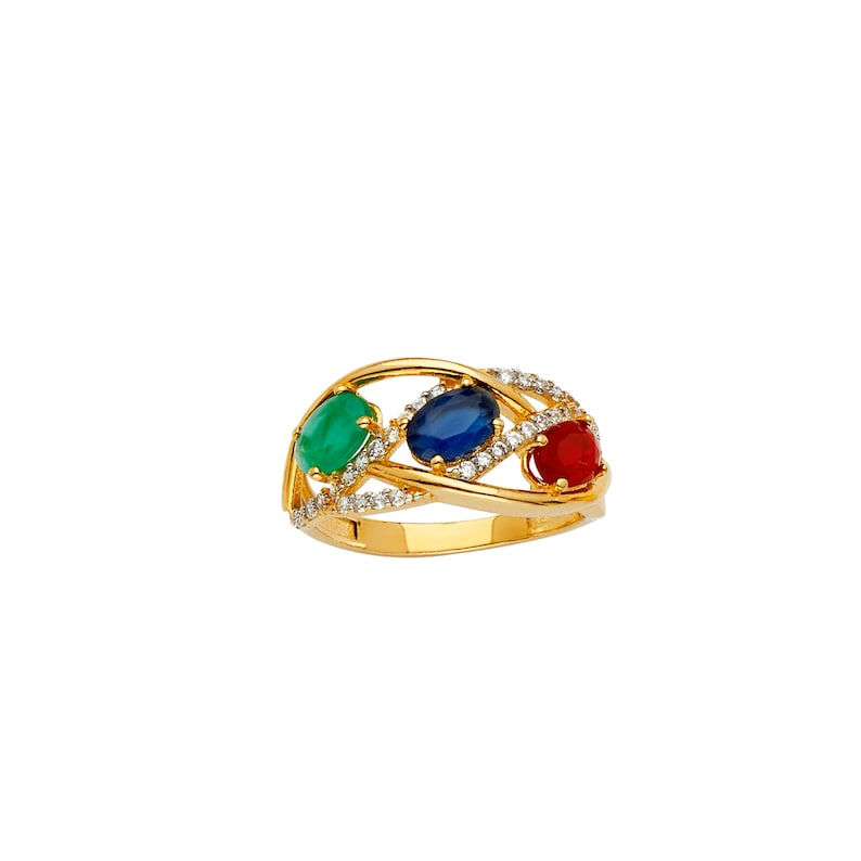 Thin Swirl Multicolor CZ Real 14K Yellow Gold Fancy Ring