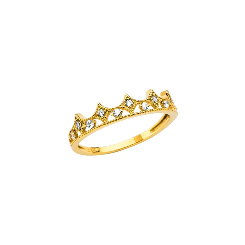 Thin Elegant Crown Style CZ Real 14K Yellow Gold Ring