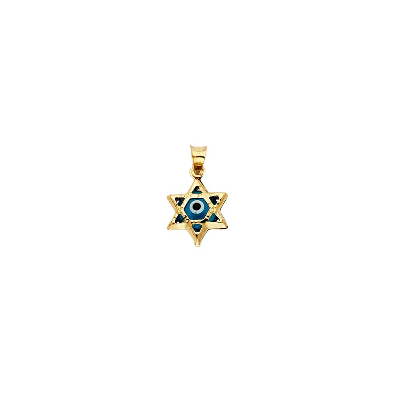Textured Star of David Blue Evil Eye Protection Real 14K Yellow Gold Pendant