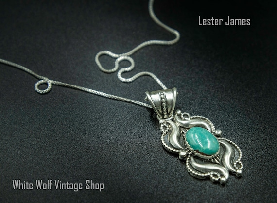 Lester James Kingman Turquoise Pendant