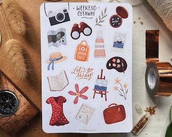Weekend Getaway Sticker sheet | Bullet journal stickers, Planner stickers, Scrapbook stickers, Travel journal stickers, Vacation stickers
