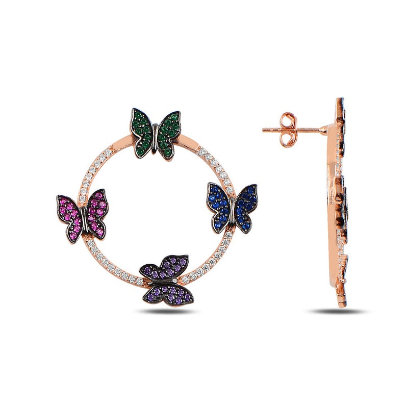 Puschback Closing MyMira Wholesale Best Gifts Ever. Wholesale Colorful Butterfly Mounted Round Earring Clear Zircon 925 Sterling Silver