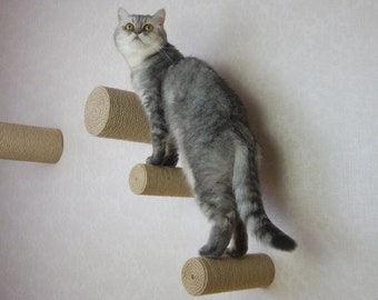 """Set of wall-mounted climbing steps for cat, 6.5cm/2.5"""" diameter"""