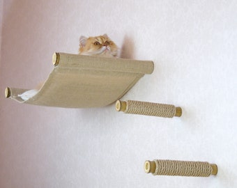 Wall-mounted hammock with climbing steps - a cat furniture set