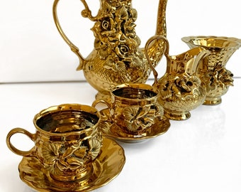 Gold Plated Turkish Tea Set for Two People with Tray