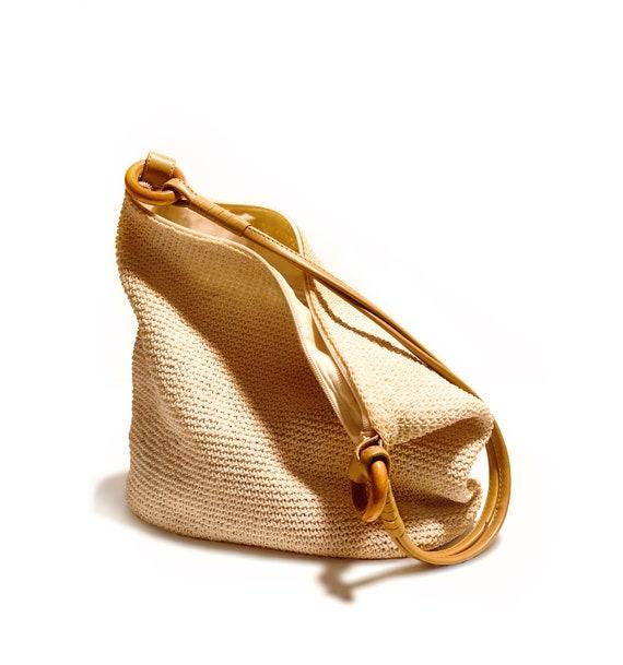 Boho Summer Bag,Summer Vintage Shoulder Bag, Cream