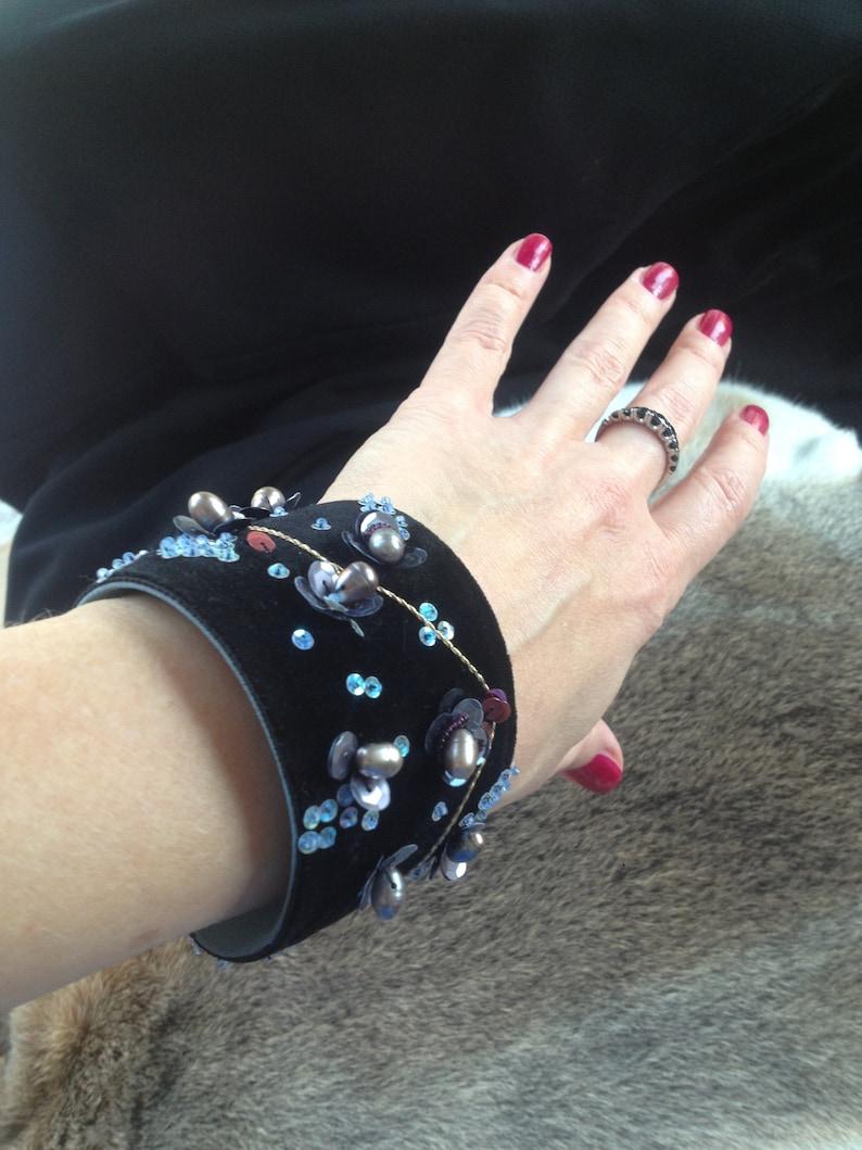1 Of a Kind Embroidered Chinese Style Black velvet Bracelet