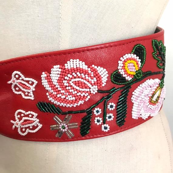 Vintage belt hand embroidered