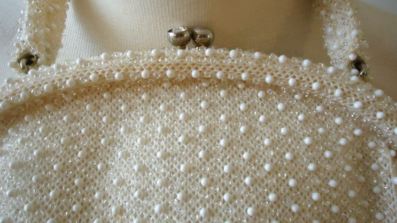 White beaded bag vintage 1960's embroidered beads - image 3