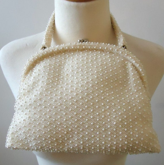 White beaded bag vintage 1960's embroidered beads - image 1